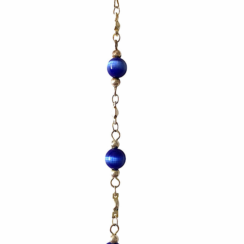 Royal Blue Beads in Silver Chain by the Inch