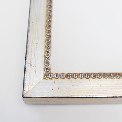 Beaded Wooden Information Frame - Silver