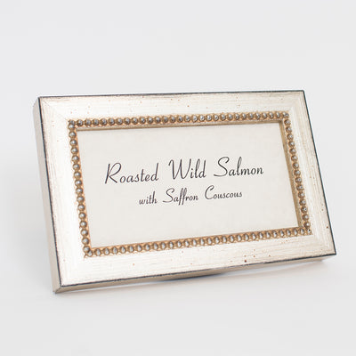Beaded Wooden Buffet Sign Frame - Silver