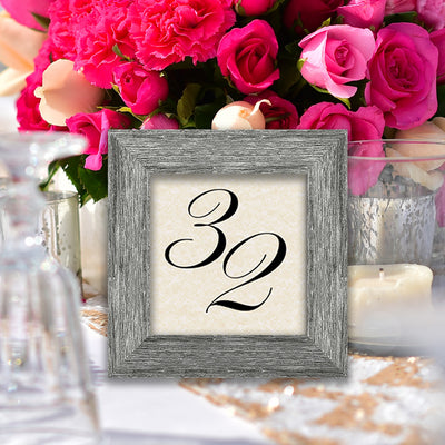 Driftwood Wooden Table Number Frame - Grey
