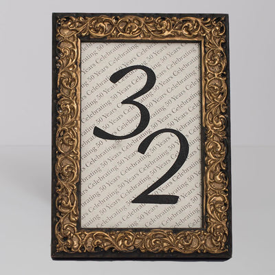 Renaissance Ornate Wooden Table Number Frame - Gold