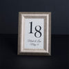 Sculptured Collection Wooden Table Number Frame - Silver