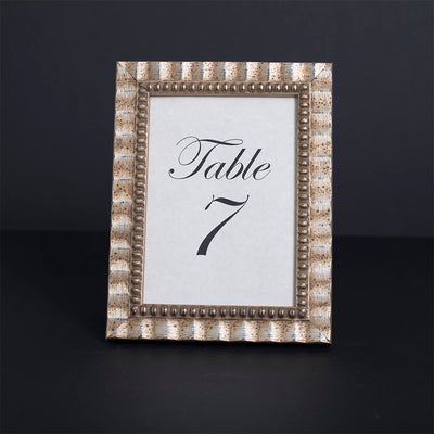 Tuscan Ornate Wooden Table Number Frame - Silver