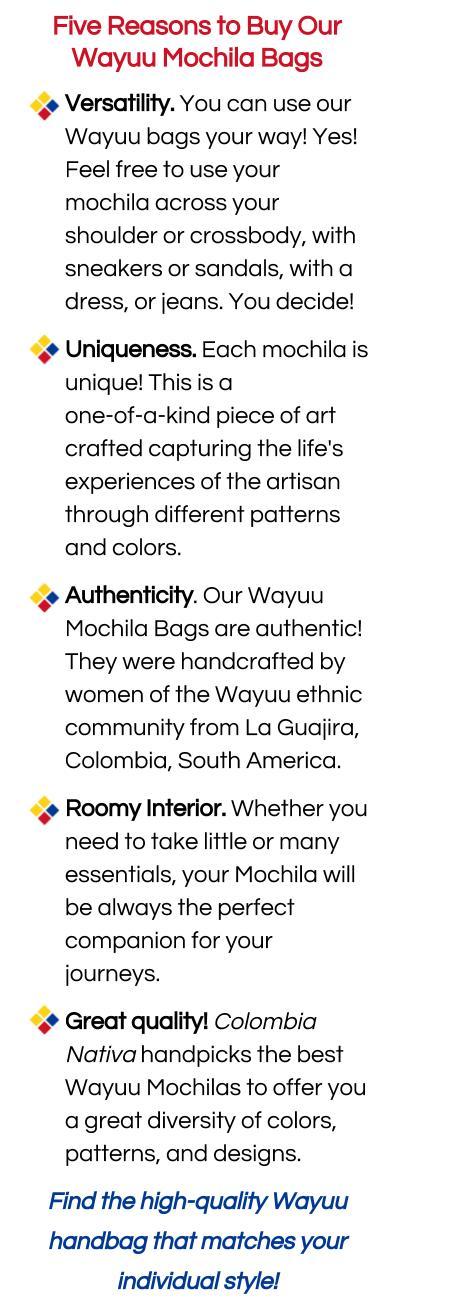 Five Reasons You Will Love Your Wayuu Mochila Bag