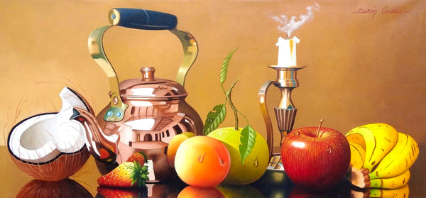 Still life oil paintings on canvas in which the colombian artist conveys a beautiful scene of fruits, candle, and bronze teapot.