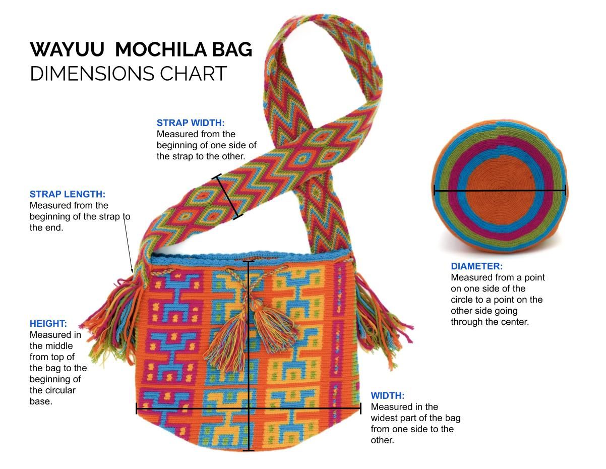 Wayuu Mochila Bag Measurements Guide