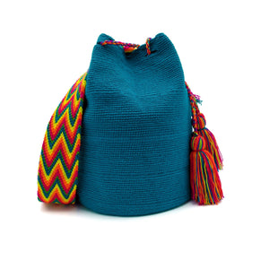 Front view of the Aquamarine Enchantment Wayuu Mochila Bag which has a vibrant array of the following colors: Cerulean (Dark-Aquamarine). Strap colors: Light-Green, Yellow, Bright-Orange-Red, Red, and Cerulean (Dark-Aquamarine)