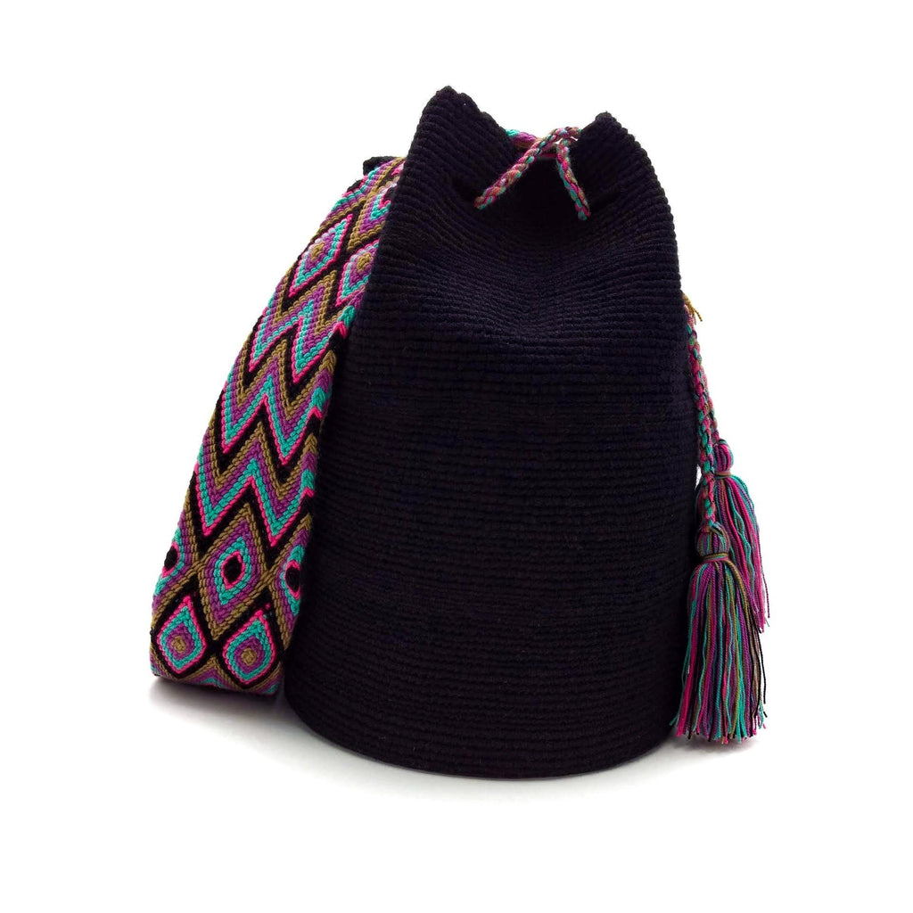 Front view of a beautiful black Wayuu Mochila Bag with a colorful strap. Strap colors are Turquoise, Bright-Pink, Tan (Light-Brown), Plum, and Black.