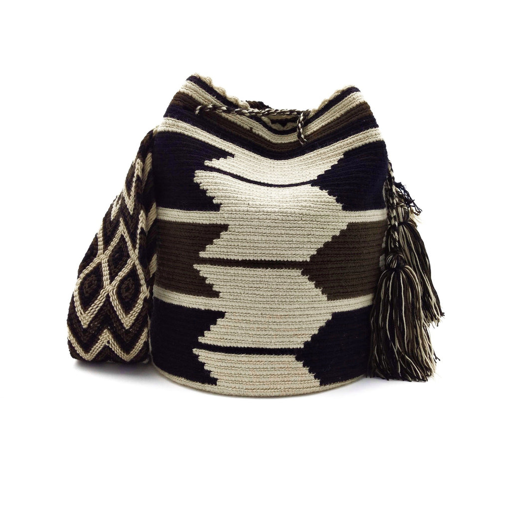 Front view of a beautiful Wayuu Mochila Bag with a pattern with arrows in colors Beige, Black, and Dark-Brown.