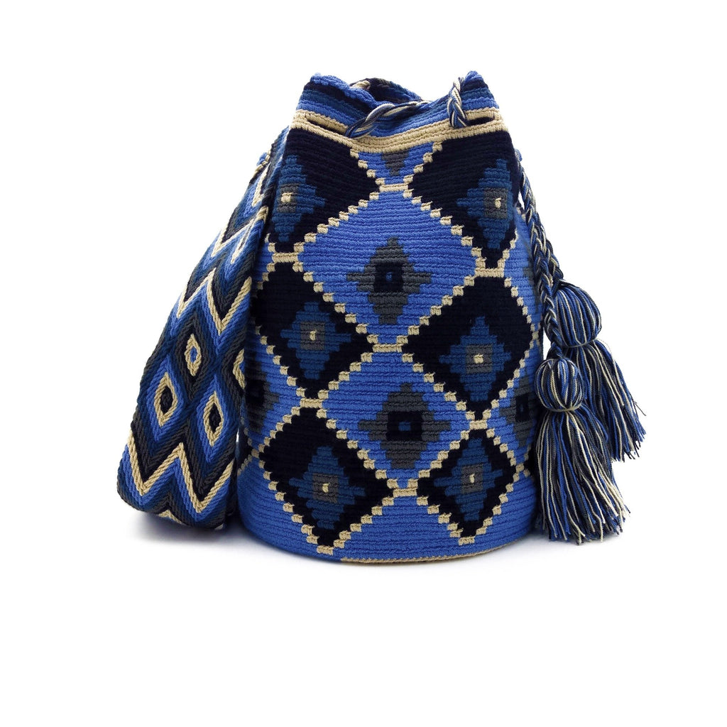Front view of Blue-Odyssey Wayuu Mochila Bag with a great array of colors such as Azure (Bright-Sky-Blue), Beige, Dark-Gray, and Cobalt-Blue.
