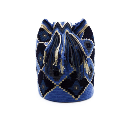Side view of Blue-Odyssey Wayuu Mochila Bag with a great array of colors such as Azure (Bright-Sky-Blue), Beige, Dark-Gray, and Cobalt-Blue.