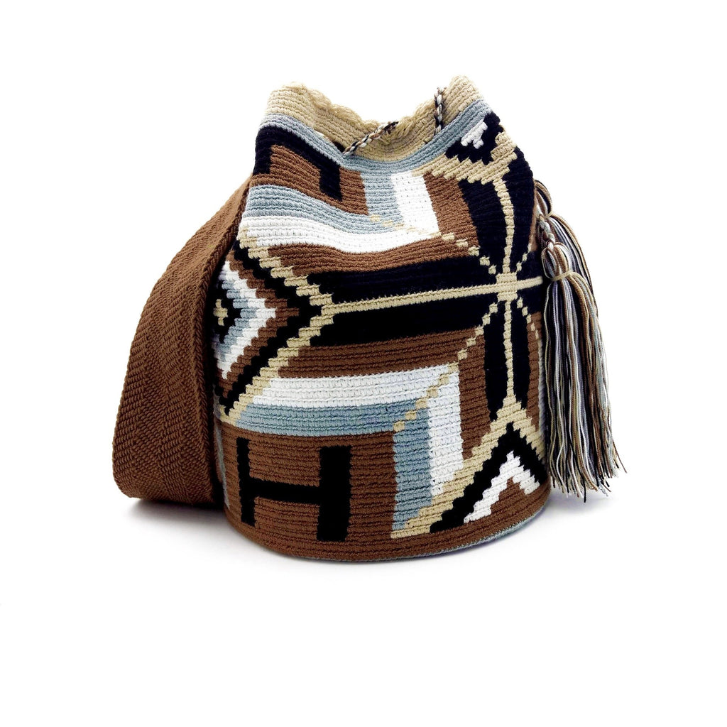 Front view of Bohemian Rhombus Wayuu Mochila Bag with a great combination of colors such as White, Light Gray, Brown, and Black.