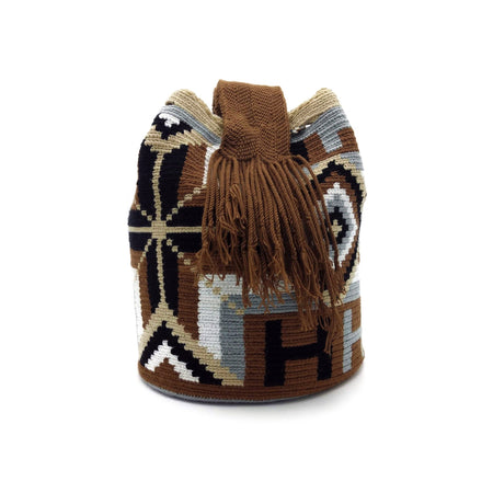 Side view of Bohemian Rhombus Wayuu Mochila Bag with a great combination of colors such as White, Light Gray, Brown, and Black.