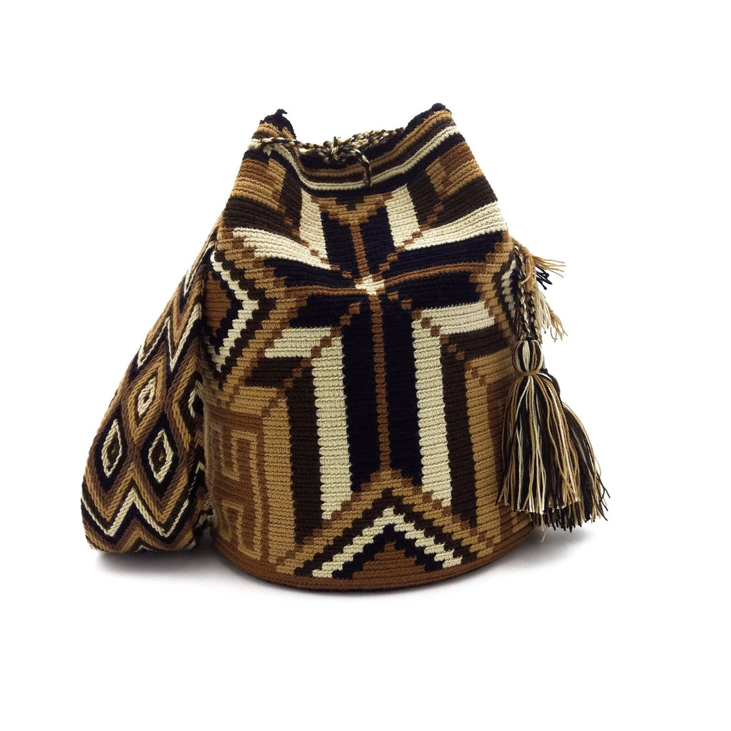 Front view of Brown-Cross Wayuu Mochila Bag with a beautiful combination of the following colors: Beige, Light Brown, Brown, Dark Brown, and Black.