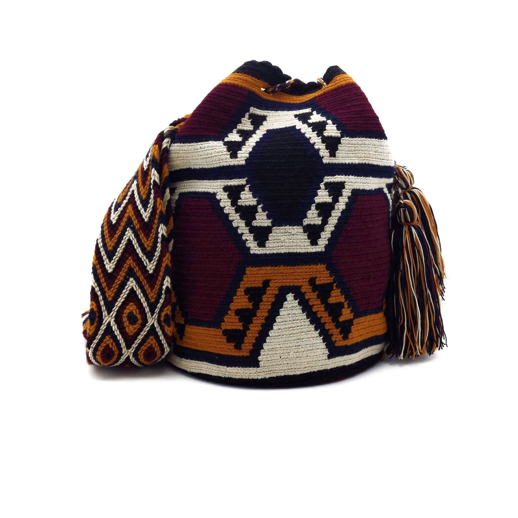Front view of a Burgundy and Black Hexagons Wayuu Mochila Bag with a great combination of earthy colors such as Whey, Dark-Blue, Orange, Burgundy, and Black