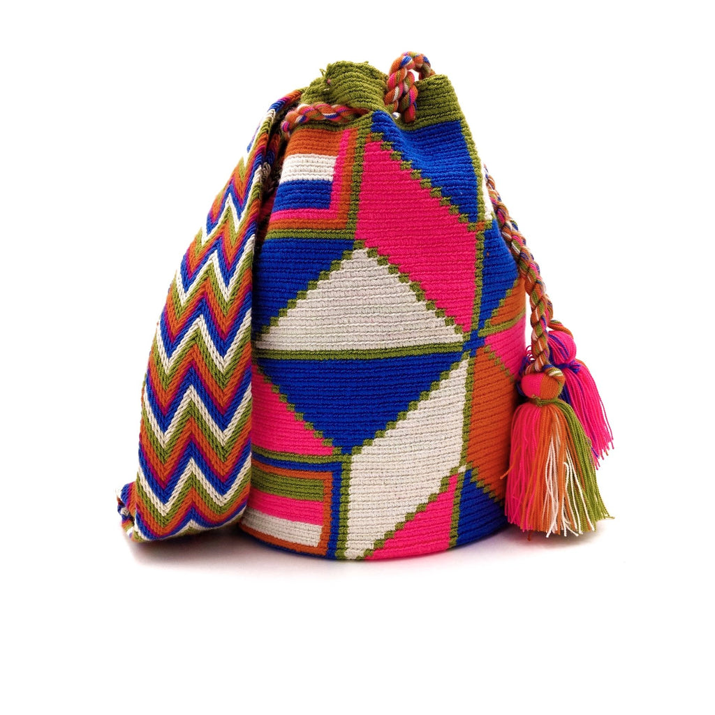 Front view of a beautiful Wayuu Mochila Bag with a vibrant array of the following colors: Beige, Green, Orange, Bright-Pink, and Azure (Bright-Sky-Blue).
