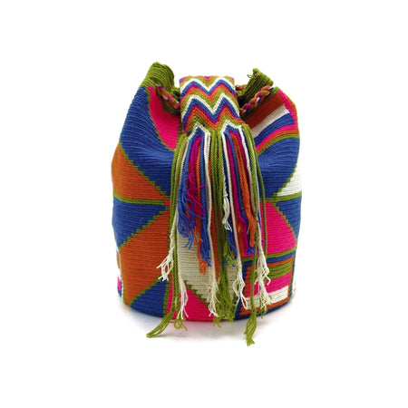 Side view of a beautiful Wayuu Mochila Bag with a vibrant array of the following colors: Beige, Green, Orange, Bright-Pink, and Azure (Bright-Sky-Blue).
