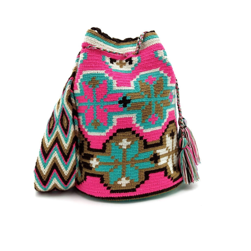 Front view of the Beautiful Spark Wayuu Mochila Bag with pattens in the following colors: Turquoise, Bright-Pink, Beige, Tan (Light-Brown), and Dark-Brown.