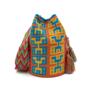 Front view of colorful hieroglyphic Wayuu Mochila Bag with patterns in the following colors: Dark-Aquamarine, Orange, Orange-red, Light-Green and Rubine-red.
