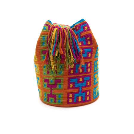 Side view of colorful hieroglyphic Wayuu Mochila Bag with patterns in the following colors: Dark-Aquamarine, Orange, Orange-red, Light-Green and Rubine-red.