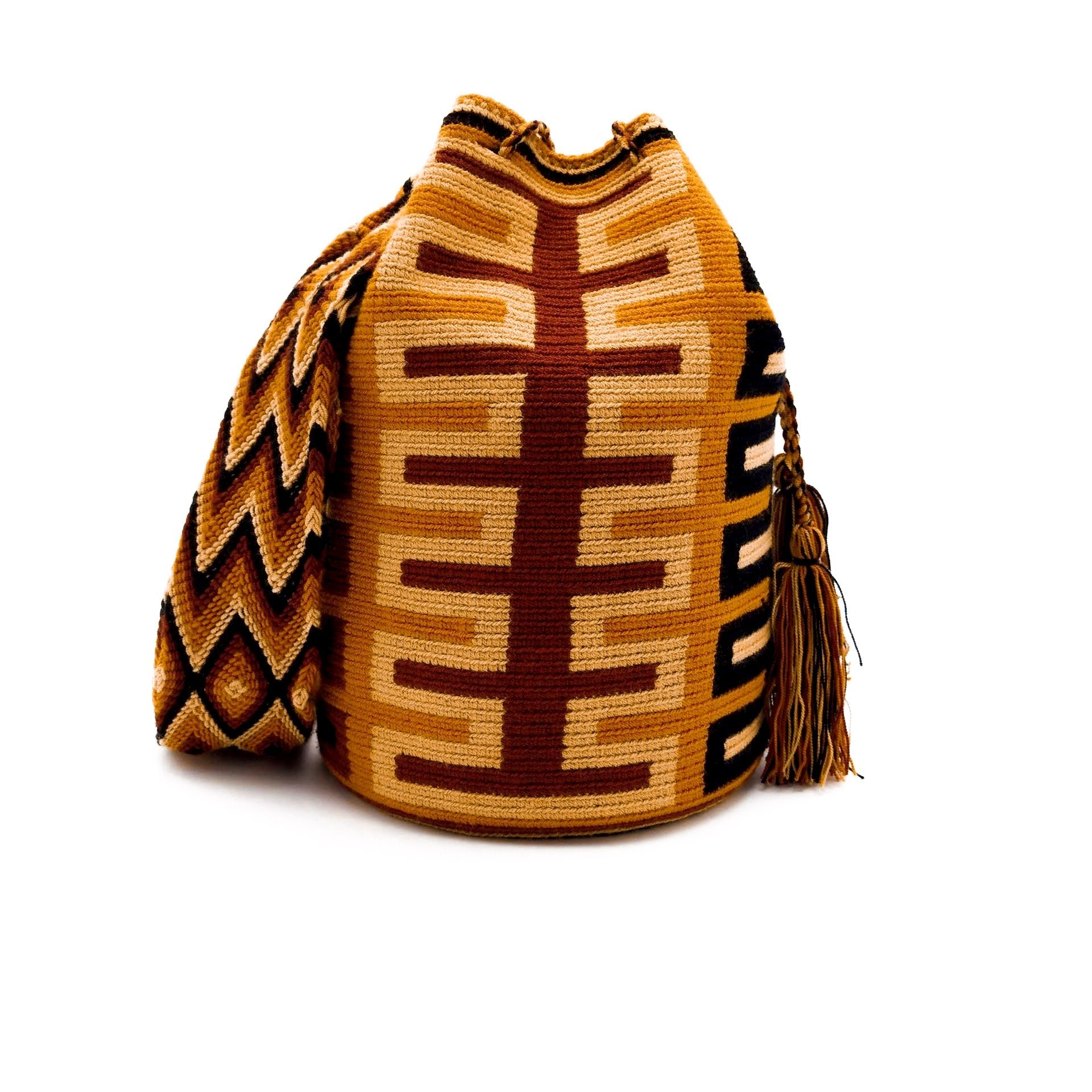 Front view of a pretty Wayuu Mochila bag with an awesome pattern in earthy colors such as Amber, Tan, Carmine, and Black
