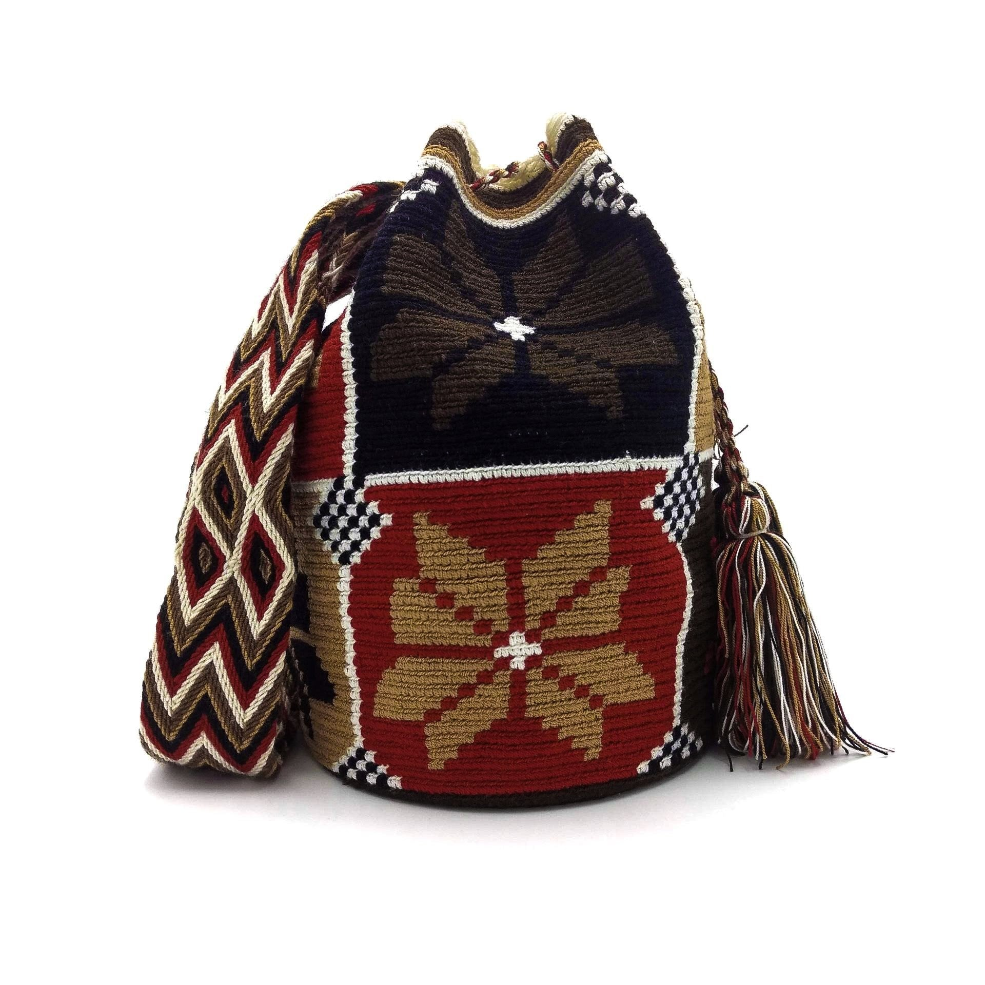Front view of Eight-Petal Flower Wayuu Mochila Bag with beautiful pattern in the following colors: Light-brown, Ivory, Brown, Red, and Black.