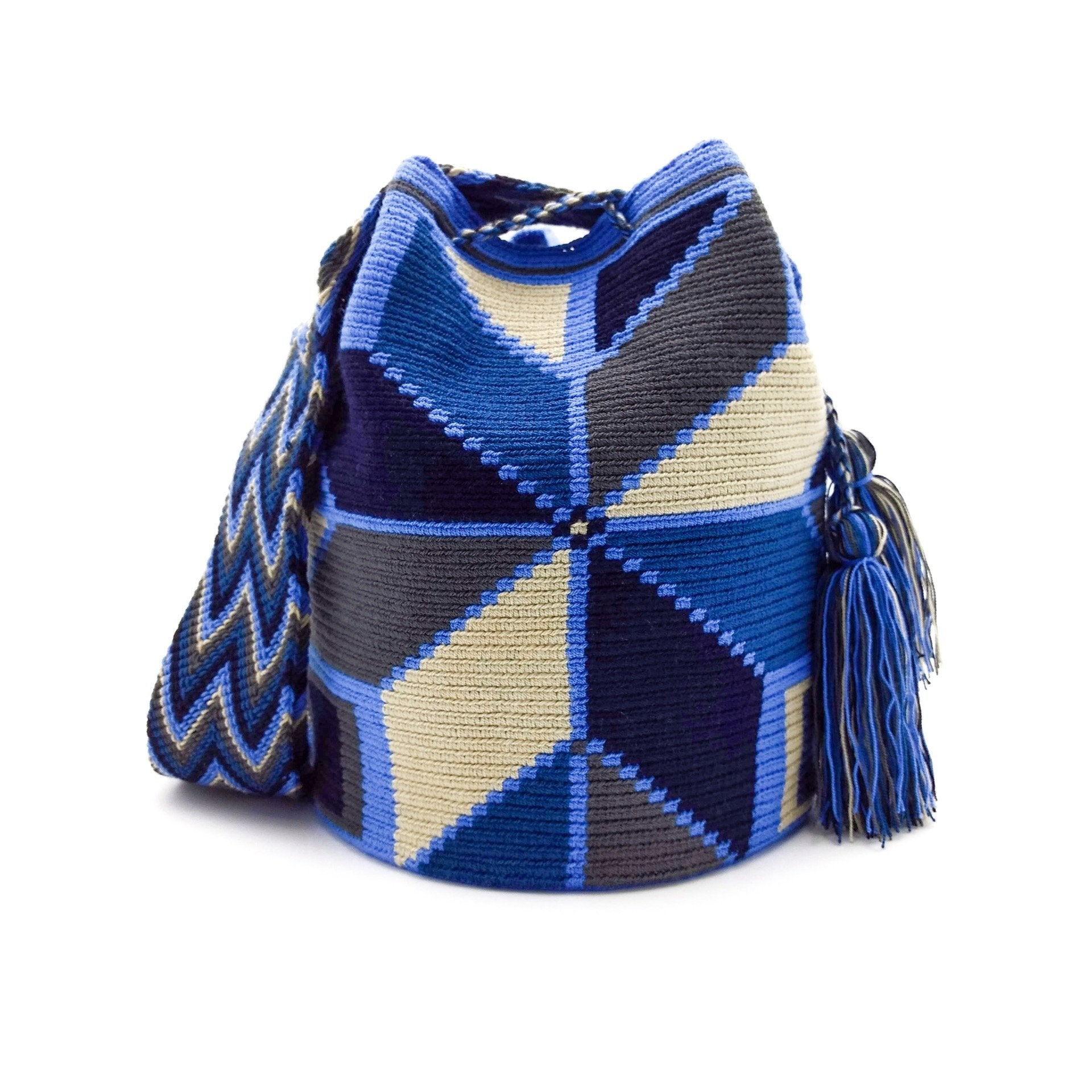 Front view of a Wayuu Mochila Bag with a geometrical pattern using an Eight Pointed Star, Rectangles and Triangles in a beautiful array of colors such as Azure Beige Gray Blue Black.