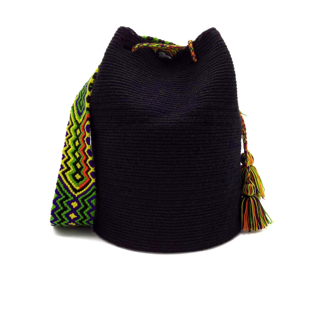Front view of a beautiful black Wayuu Mochila Bag with a colorful strap. Strap colors are Light-Green, Yellow, Hot-Orange, Bright-Purple, and Black.