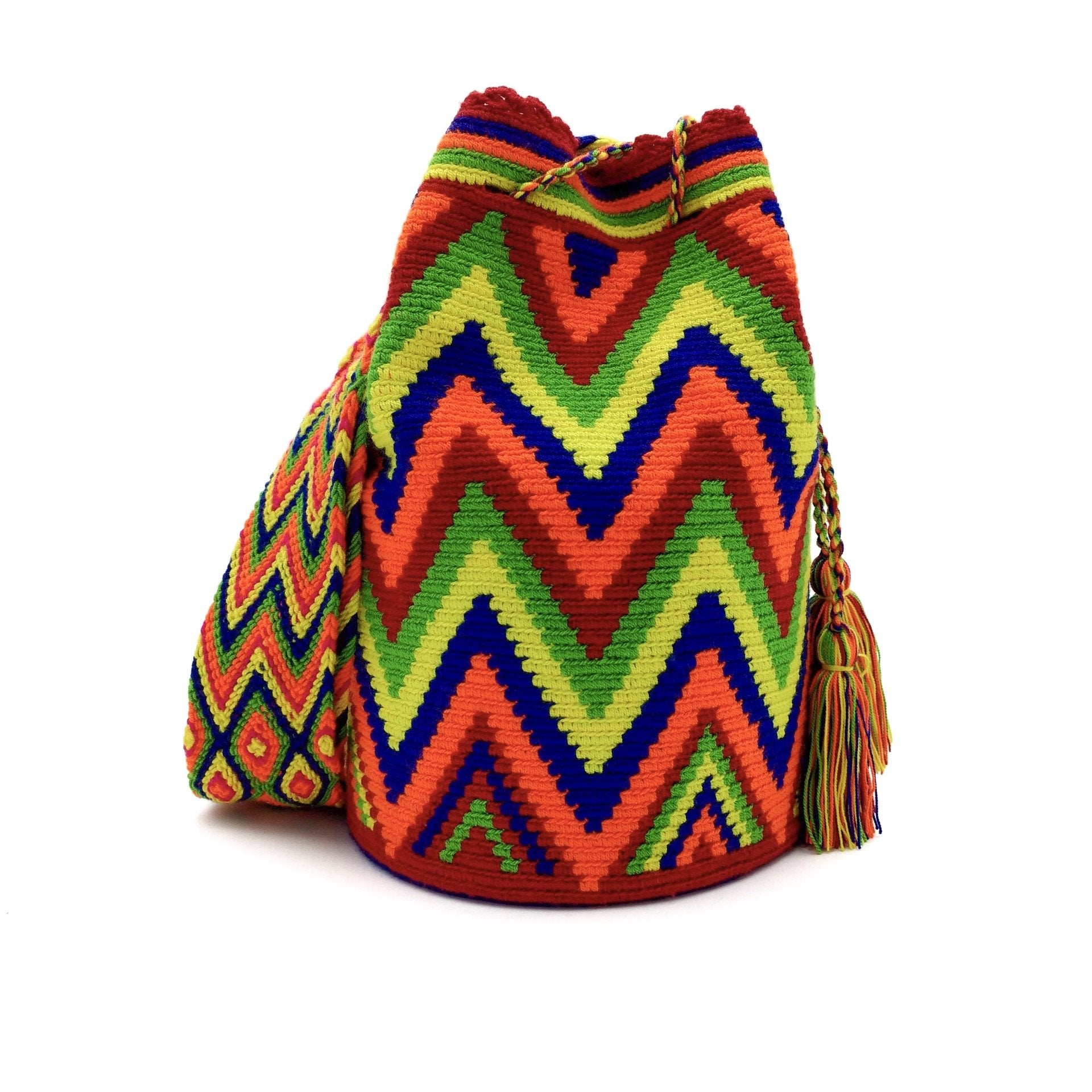 Front view of a beautiful Wayuu Mochila Bag with vibrant colors such as Light-Green, Navy-Blue, Hot-Orange, Red, and Yellow.