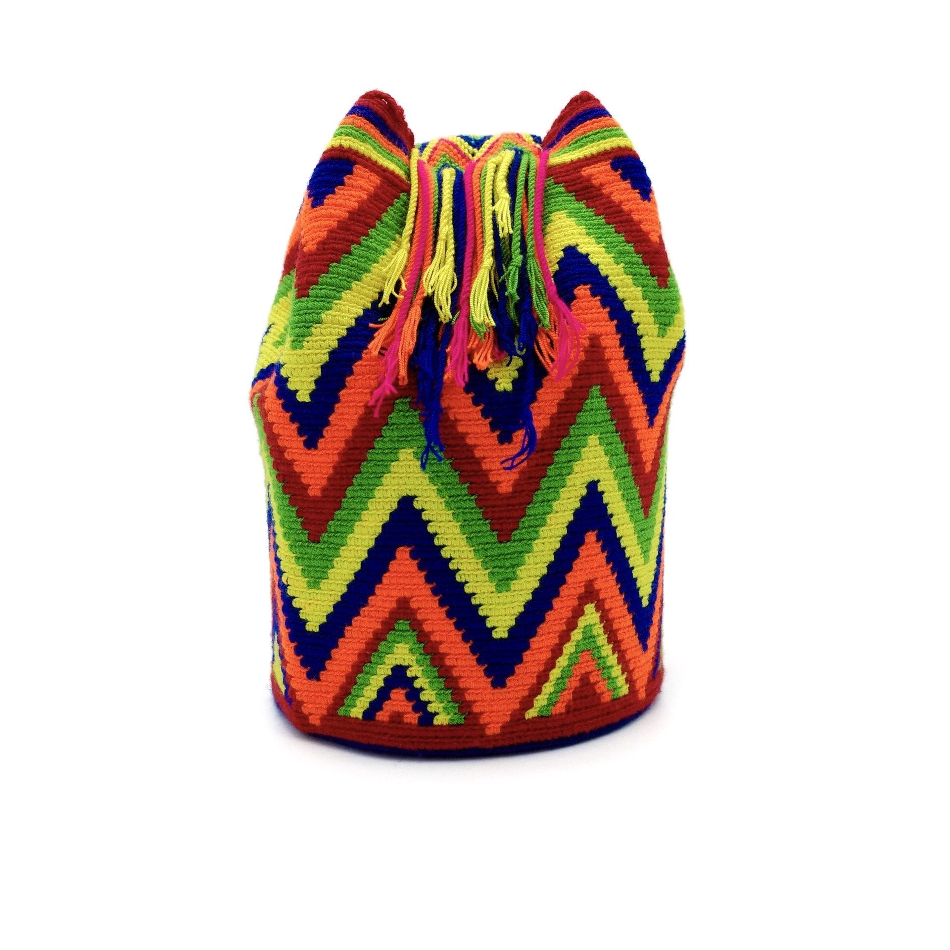 Side view of a beautiful Wayuu Mochila Bag with vibrant colors such as Light-Green, Navy-Blue, Hot-Orange, Red, and Yellow.