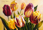 Original Oil Painting on Canvas depicting yellow, pink and red tulips on a yellow background.