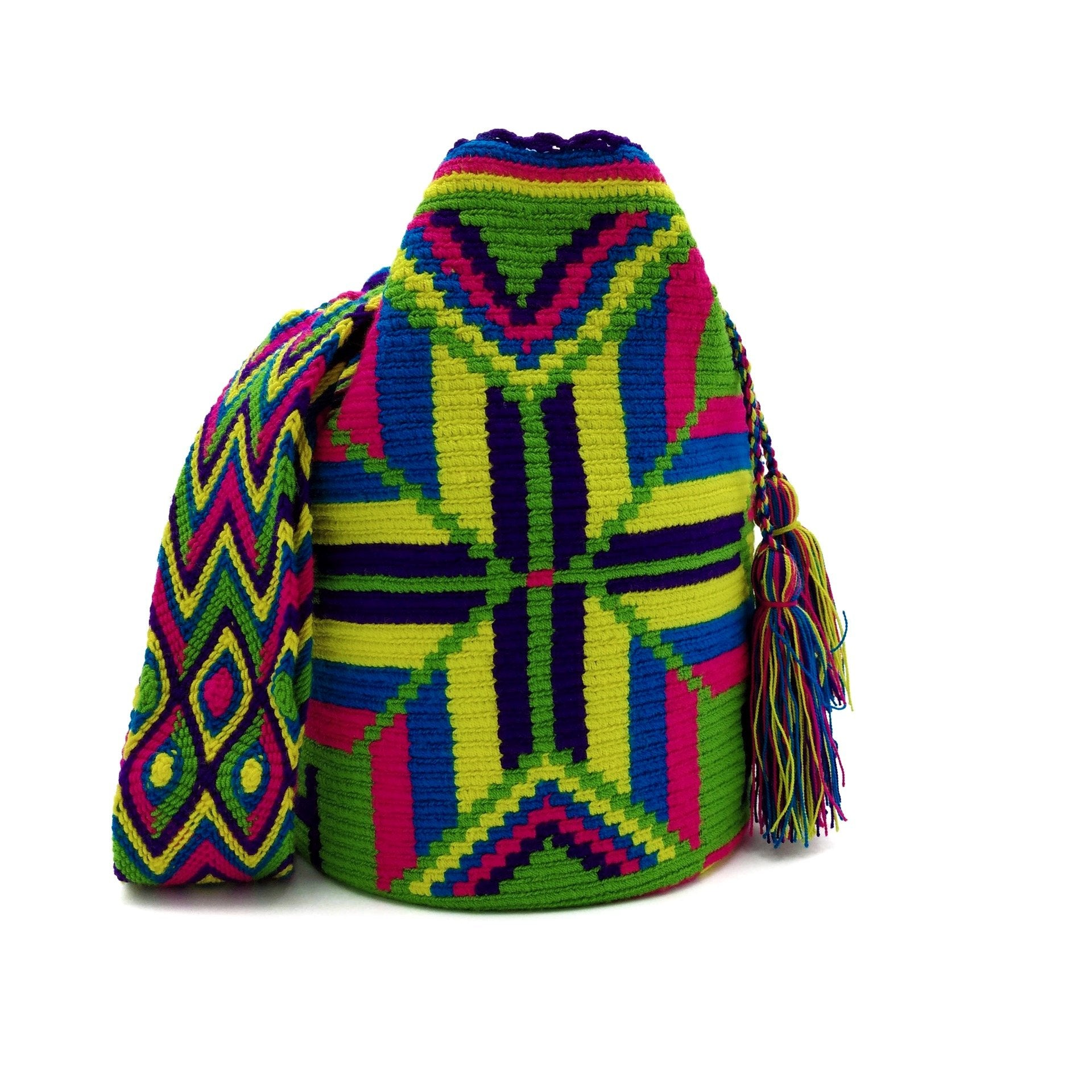 Front view of Green Macaw Wayuu Mochila Bag with a beautiful arrays of the following vibrant colors: Light-Green, Cerulean (Dark-Aquamarine), Bright-Rose, Purple, and Yellow.