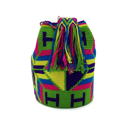 Side view of Green Macaw Wayuu Mochila Bag with a beautiful arrays of the following vibrant colors: Light-Green, Cerulean (Dark-Aquamarine), Bright-Rose, Purple, and Yellow.