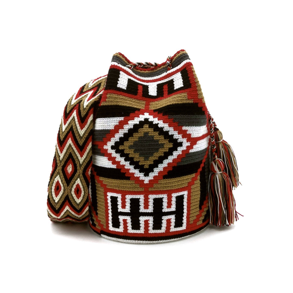 Front view of Helen Wayuu Mochila Bag with a beautiful combination of the following colors: White, Red, Light-Brown, Gray, and Black.