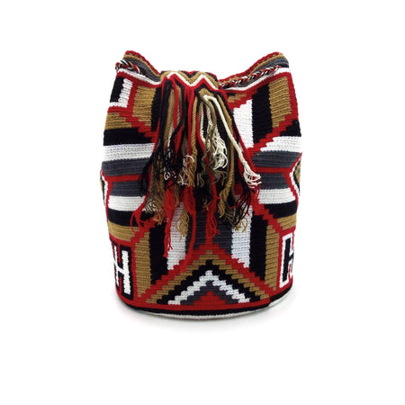 Side view of Helen Wayuu Mochila Bag with a beautiful combination of the following colors: White, Red, Light-Brown, Gray, and Black.