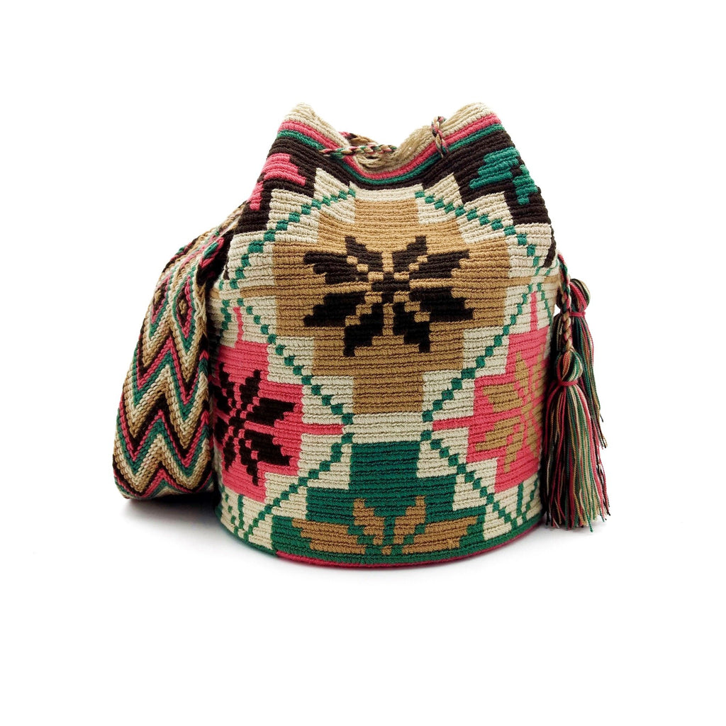 Front view of joyful flowers Wayuu Mochila Bag with a great combination of earthy colors such as Whey, Emerald-Green, Blush-Pink, Light-Brown, and Brown.