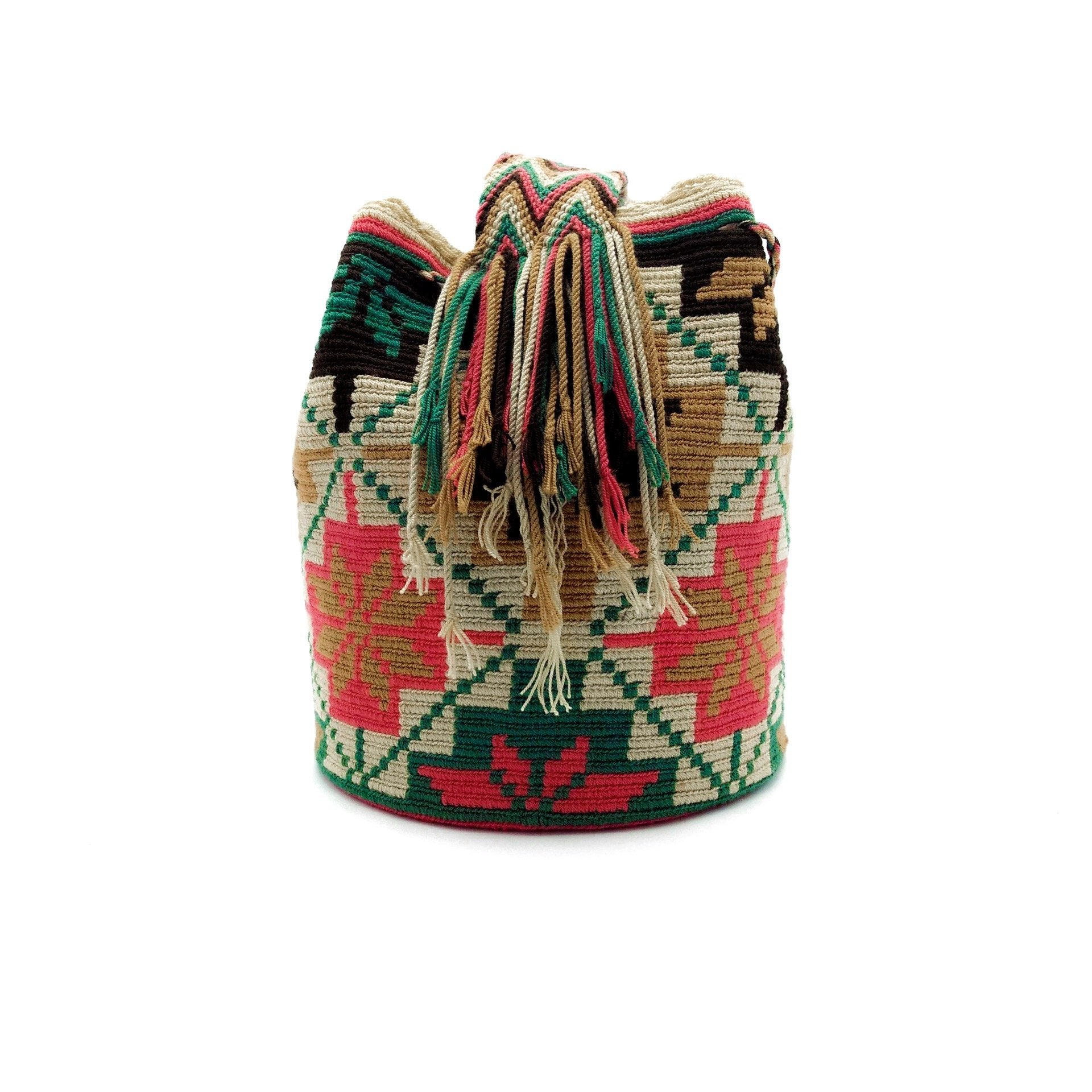Side view of joyful flowers Wayuu Mochila Bag with a great combination of earthy colors such as Whey, Emerald-Green, Blush-Pink, Light-Brown, and Brown.