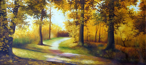 Original Oil Painting on Canvas depicting an autumnal road.