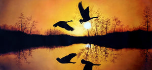 Original Oil Painting on Canvas depicting a colorful sunset with ducks flying over a lake.