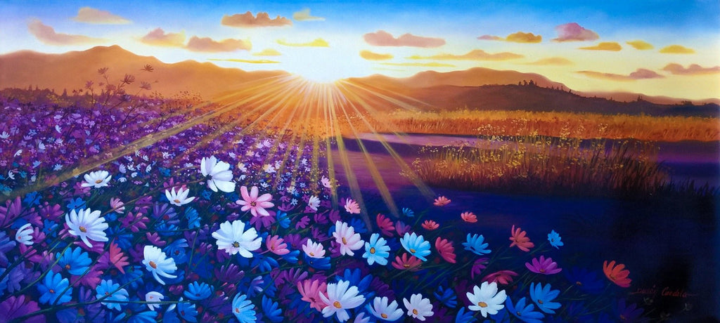 Original Oil Painting on Canvas depicting the softness of a sunrise over the mountains and flowers blossom.