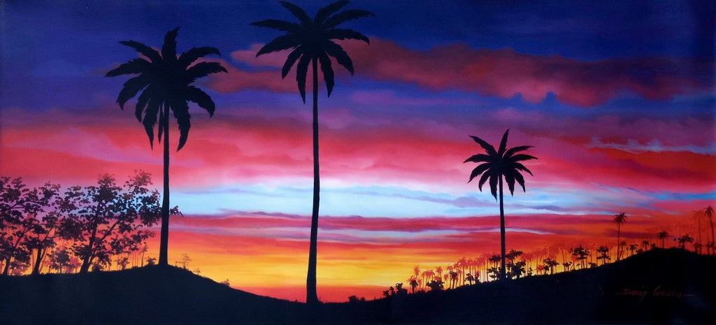 Original Oil Painting on Canvas depicting a colorful Sunset at Cocora Valley Park