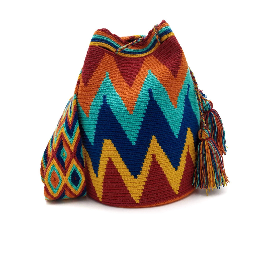 Front view of Macaw Wayuu Mochila Bag with an awesome combination of vibrant colors such as Red, Orange, Turquoise, Dark-Blue, and Dark-Yellow.