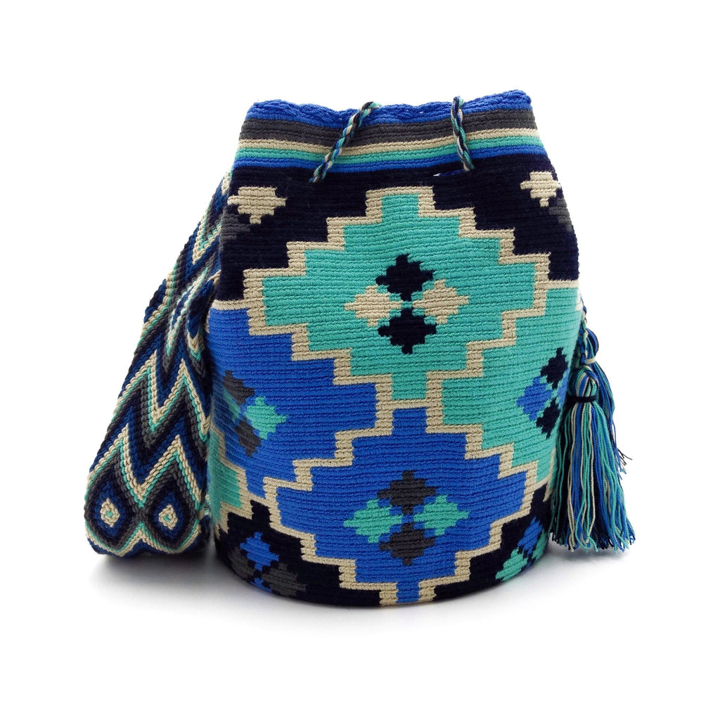 Front view of a beautiful Wayuu Mochila Bag with an awesome pattern in colors Cornflower-Blue, Medium-Aquamarine, Wheat, and Black.