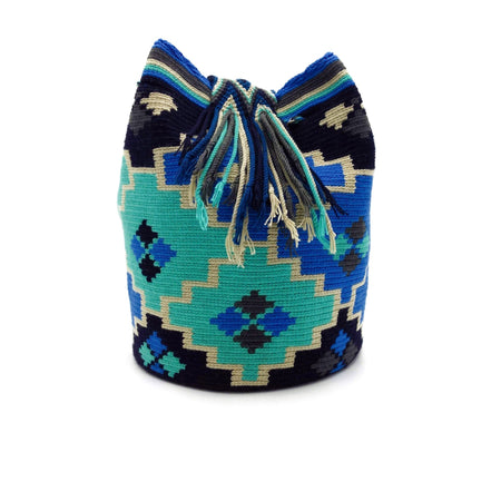 Side view of a beautiful Wayuu Mochila Bag with an awesome pattern in colors Cornflower-Blue, Medium-Aquamarine, Wheat, and Black.