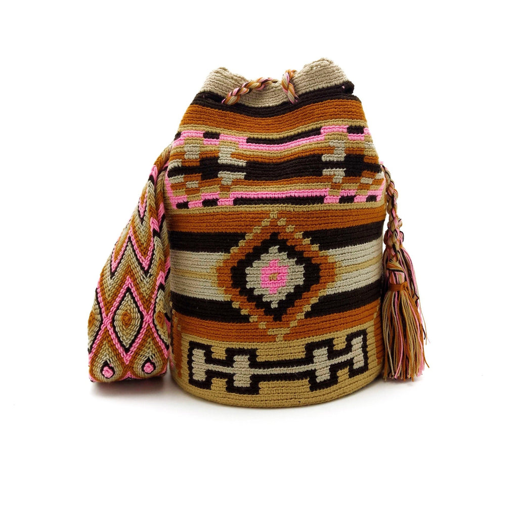 Front view of a beautiful Wayuu Mochila Bag with an playful pattern in colors Amber (Goldish Orange), Pink, Whey, Tan (Light-Brown) and Brown.