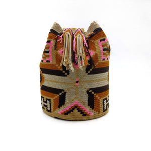 Side view of a beautiful Wayuu Mochila Bag with an playful pattern in colors Amber (Goldish Orange), Pink, Whey, Tan (Light-Brown) and Brown.