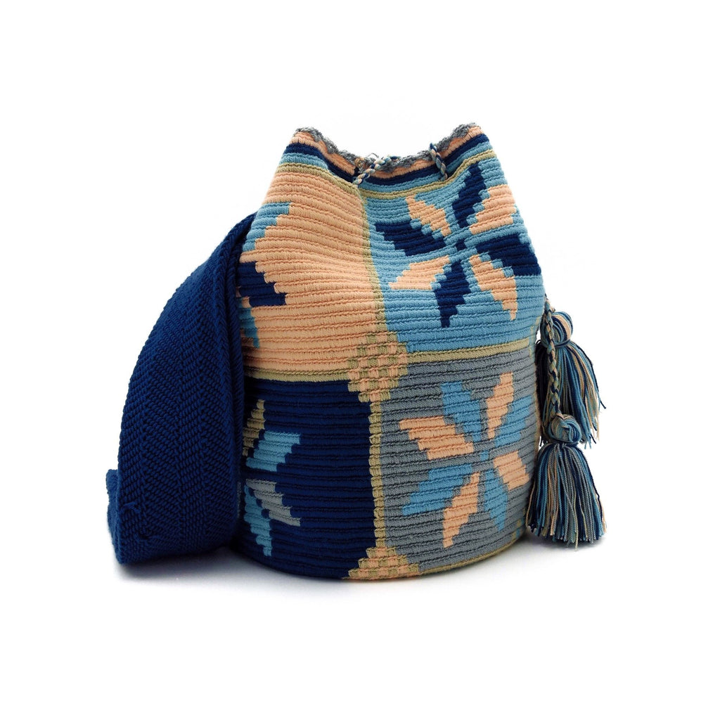 Front view of a Wayuu Mochila Bag with a beautiful Salmon-Sushi color combination like Salmon-Peach, Dark-Blue, Light-Aquamarine, Whey, Light-Gray.