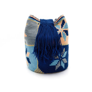 Side view of a Wayuu Mochila Bag with a beautiful Salmon-Sushi color combination like Salmon-Peach, Dark-Blue, Light-Aquamarine, Whey, Light-Gray.