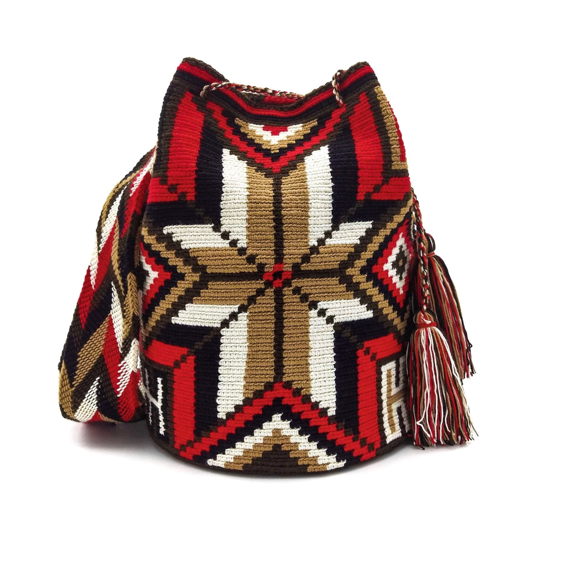 Front view of a beautiful Wayuu Mochila Bag with a vibrant pattern in colors Ivory, Bright-Red, Light-Brown, Dark-Brown, and Black.