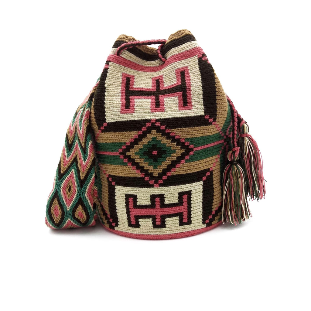 Front view of Shirley Wayuu Mochila Bag with a beautiful design using the following colors: Dark-Green, Dark-Pink, Light-Brown and Dark-Brown.